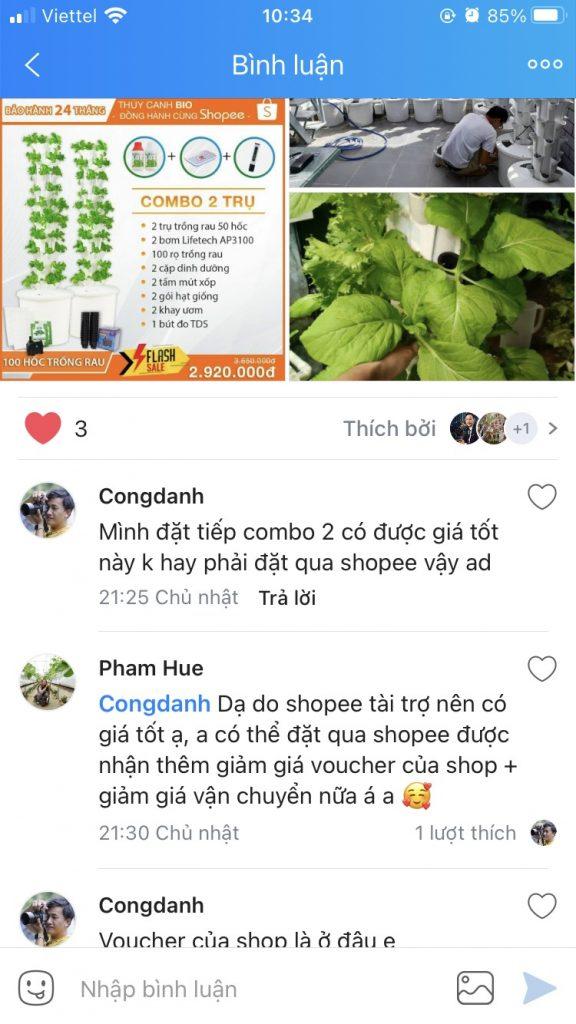 khách hàng sử dụng trụ trồng rau bio